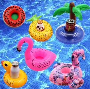 Wholesale Inflatable drink cup holder colorful cup mat donut flamingo watermelon lemon shaped PVC swimming pool floating mat floating pool toys