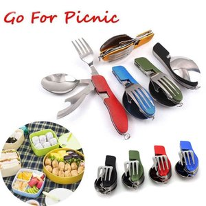 Wholesale 2019 Multifunction Outdoor Camping Tableware Stainless Steel Cutlery in Folding Fork Knife Bottle Opener Picnic Dinnerware Set M133F