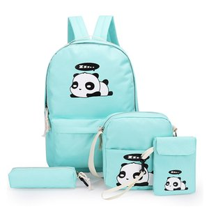 4pcs Set Panda Printed Cute Canvas School Backpack For Boys Girls Teenagers Laptop Backpack Women Bagpack Pencil Case Hand Bags