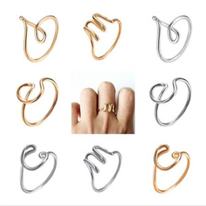 Wholesale 26 A Z English Letter Rings Fashion Woman Hand wound Alphabet Simple Open Adjustable Ring Creative Lady Jewelry LJJ_TA949