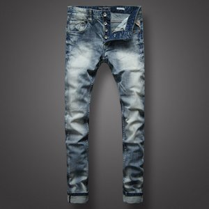 Wholesale 2019 Ripped Biker Jeans Slim Fit Motorcycle Biker Denim For Men Distressed Dark Light Washed Hole Slim Good Quality