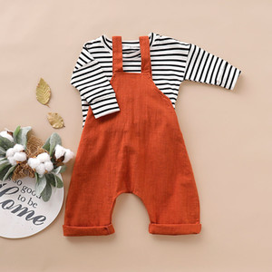 Wholesale INS New Infant Baby Boys Girls Stripes Tshirts Tops with Overalls 2pieces Organic Linen Cotton Pants Children Clothing Set