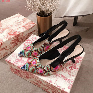 EWomen new high heels, Embroidered beaded sandal, Casual and stylish leather sandals with large soles and medium heels