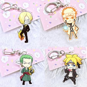 Japan Anime One Piece Action Figure Acrylic Bright Color Key Ring two-sided Figurine Naruto Keychain toys for kids