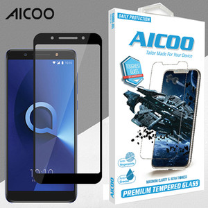 Wholesale For Alcatel X H Silk Tempered Glass Screen Protector Explosion Proof Protective for Alcatel Folio Retail Package Aicoo