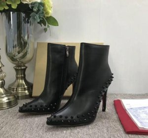 Wholesale 2018 Luxury Black red Leather with Spikes Pointed Toes Womens Ankle Boots Fashion Designer Sexy Ladies Red Bottom High Heels Shoes Pumps