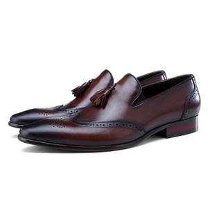 Wholesale Deep Brown Black Loafers Dress Shoes Mens Wedding Groom Shoes Genuine Leather Prom Shoes With Tassel