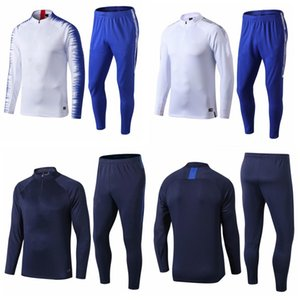 Wholesale 19 pulisic JORGINHO GIROUD team tracksuits kit soccer jogging suits football training suit set long sleeve white blue uniforms survete
