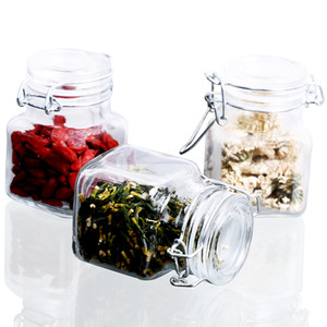 Wholesale 1 Oz Airtight Square Spice Glass Jar With Leak Proof Rubber Gasket And Hinged Lid For Home