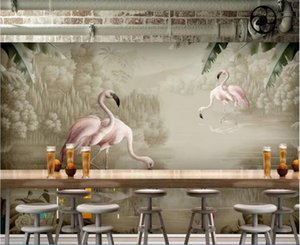 Wholesale landscaping drawing resale online - 3d room wallpaper custom photo mural Landscape modern minimalist hand drawn watercolor plant flamingo decorativewallpaper for walls d