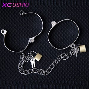 Wholesale stainless steel female wrist ankle resale online - 1 Wrist Stainless Steel Female Male Hand Metal Pair Ankle Y190713 For Restraints Bdsm Bondage S Sex Adult Game Toys Couple Opfex