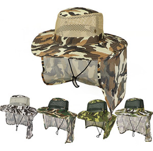 ingrosso cappelli da pesca all'aperto-Cappellino mimetico Outdoor Sport Cappellino militare Jungle Cappello schermante in Sun Garza Cappello Cowboy Packable Secchiello TTA870