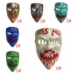 Wholesale scary white face mask resale online - New Kiss Me Horror Mask Scary Halloween Mask Full Face Horror Devil Masquerade Masks Halloween Cosplay Prop Party Supplies DBC VT0946