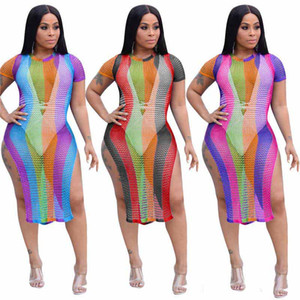 Wholesale Double Side Slit Sexy Bandage Dress Women Colorful Vertical Striped Cut Out Party Dress Summer Short Sleeve Perspective Vestido