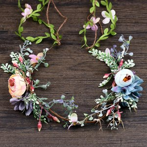 Wholesale Pink Blue Artificial Flower Fashion Tiara Headbands For Women Bride Wreath Luxury Summer Girls Hairbands Wedding Hair Accessorie