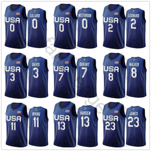 usa basketball trikot xxl großhandel-2020 Herren Nationalmannschaft USA Basketball Jersey LeBron James Harden Kyrie Irving Kemba Walker Damian Lillard Davis Durant Curry Kawhi Leonard