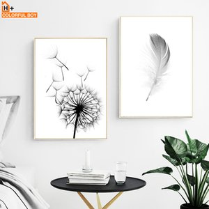 Wholesale Posters And Prints Wall Art Canvas Painting Dandelion Feather Black White Nordic Poster Wall Pictures For Living Room Home Decor