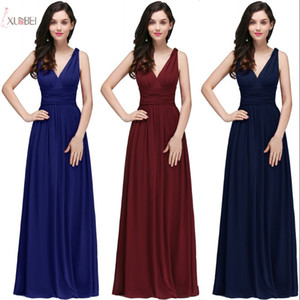 Wholesale New V Neck Long Prom Evening Dress Cheap Silver Halter A-line Party Gown Formal Bridesamid Dresses In Stock CPS723
