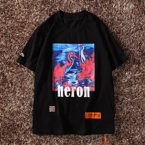 Wholesale New York Fashion Heron Printing Men Women Street Luxury Cotton Casual Short Sleeve Mens Designer T Shirts