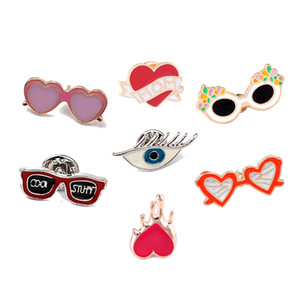 Cute Glasses Eye Mom Heart Brooches Metal Enamel Pins Button Badges Jackets Lapel Pin Cartoon Jewelry For Kids Women Accessories