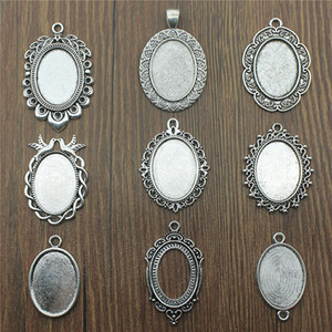 Wholesale Fit x25mm Oval Glass Cabochon Base Setting Antique Silver Color Charms Pendant Base DIY Jewelry Making Handmade Finding