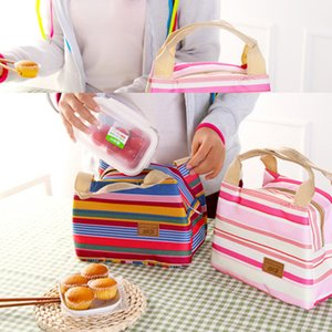 Wholesale Thermal Picnic Lunchbox Insulated Lunch Bag Canvas Stripe Bags Kids Baby Tote Storage