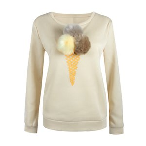 Wholesale 2016 2017 Hot 7 Colors Cute ice cream plush ball Sweater Autumn and Winter basic Women Sexy Casual Long-sleeved Shirt Tops