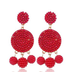 Wholesale bohemian beads dangle earrings for women luxury bead chandelier earring hot sale holiday style jewelry gifts for gf colors dark pink red