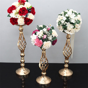 Wholesale pillars for candles for sale - Group buy 60cm Wedding Twist candlestick Wedding props Road Lead Iron metal candle holder flower canterpiece table decoration for party house festival