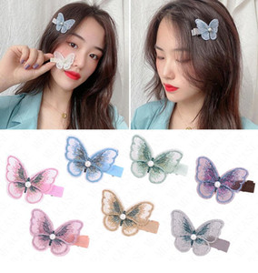 Wholesale mesh for hair resale online - Embroidery Mesh three dimensional butterfly hairpin Butterfly Hair Clip Hairpins for Girls Headwear Gradient Hair Pins Accessories D62803