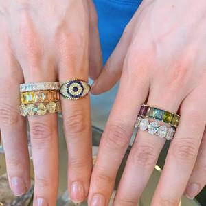 rainbow colorful cz paved turkish evil eye ring for women Bohemia boho Trendy female jewelry size 5 6 7 8 rings