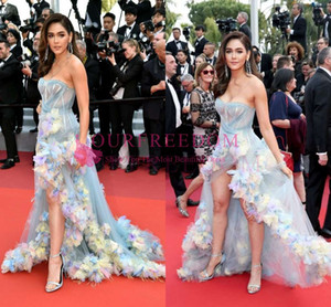 Cannes Film Festival 2019 Araya Hargate Celebrity Dresses Sweetheart Neck Sexy Side Split 3D Flora Appliques Formal Red Carpet Dresses on Sale