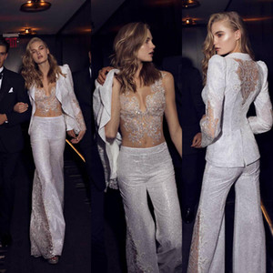 Zuhair Murad Jumpsuits Dresses Evening Wear Event Gowns With Jacket Vestidos De Fiesta Lace Appliqued V Neck Sequined Prom Gowns on Sale
