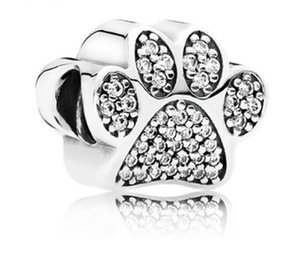 Wholesale Fits Pandora Bracelets Bear Paw Footprint Charm Beads Silver Charms Bead For Diy European Necklace Jewelry Making Xmas