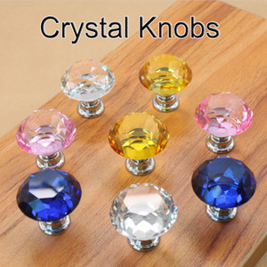 30mm Diamond Crystal Door Knobs Glass Drawer Knobs Kitchen Cabinet Furniture Handle Knob Screw Handles and Pulls