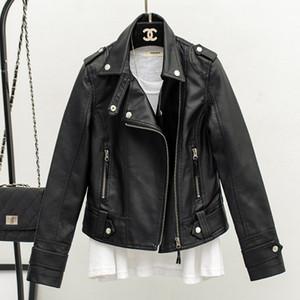 2019 new slim lapels leather jacket faux leather jackets women