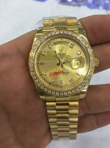 Wholesale With original box WATCHES Top Quality k Yellow Gold Diamond Dial Bezel Watch Automatic Men s Watch Wristwatch