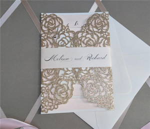 Glitter Laser Cut Invite for Wedding, Rose Gold Laser Cut Gatefold Glitter Wedding Invitations with Belly Band Free Printing Free Shipping