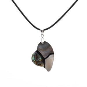 ingrosso fabbrica di pendenti delle collane della perla-Personality Heart Donne Collane perla Abalone Shell Collana Handmade Black Rope Catena Catena Collane Collane Collane Clavicle Ciondoli Clavices Factory Jewelries