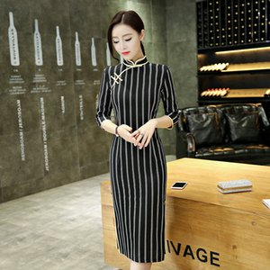 Wholesale Chinese Dress Black Vertical Stripes Cotton And Linen Qipao Long Cheongsam Oriental Style Dresses Women Wedding Clothes DN3009