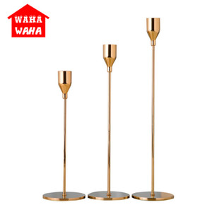 Wholesale Chinese Style Metal Candle Holders Simple Golden Wedding Decoration Bar Party Living Room Decor Home Decor Candlestick