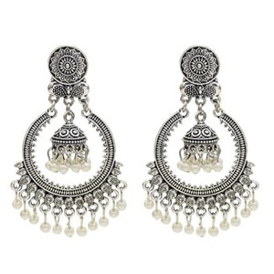 Wholesale Ethnic Silver Afghan Pearl Long Tassel Beads Drop Flower Jhumka Earrings Bollywood Oxidized Bridal Wedding Jewellery