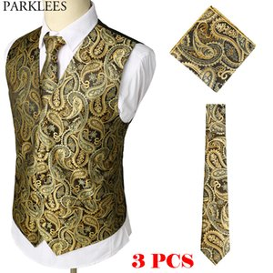 Wholesale Gold Paisley Floral Jacquard Vest Tie Hankerchief Set Brand Slim Fit Business Wedding Sleeveless Waistcoat Men Gilet Homme