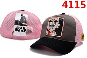 Wholesale New Dragon Ball Mesh Hat Anime Majin Buu Roles Baseball Cap High Quality Curved Brim Snapback Cap Gorras Casquette Drop shipping