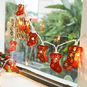 Christmas Lights Fairy String Lamp 3M 6M Holiday Party Decorate 3D Red Colorful Socks Warm White Flashing 4.5V String EUB