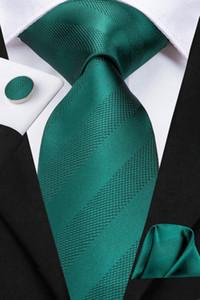 Hi-Tie New Classic Necktie Set Green Stripe 100% Handmade Silk Ties for Mens Business Suit Luxury Wedding N-3126