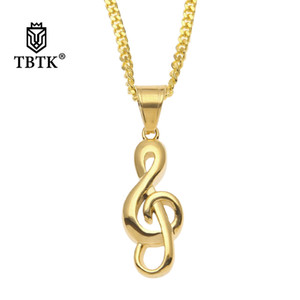 Wholesale TBTK Treble Clef Pendant Gold Silver Simple Style Music Note Pendant Necklace Coin Size Punk Style Refined Jewelry Men Necklace