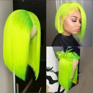 Natural Hairline Soft Swiss Lace Front Wigs 14inch Green Short Bob Wig Heat Resistant Straight Synthetic Cosplay Party Wig For Black Women