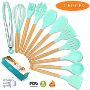 Wholesale Cooking Utensils Silicone Kitchen Piece set Kitchen Utensil Set Cookware Spatula Kitchenware Set Wooden Nonstick