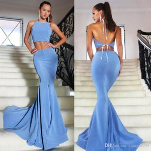 Wholesale backless dresse resale online - Waishidress Ocean Blue Two Piece Prom Dresse Sexy Halter Backless Evening Gowns Cheap Sweep Train Mermaid Special Occasion Dress
